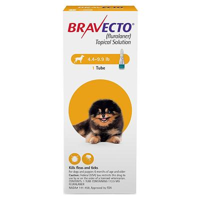 Bravecto Topical X-Small Dogs (4.4 - 9.9 Lbs) Yellow 2 Doses