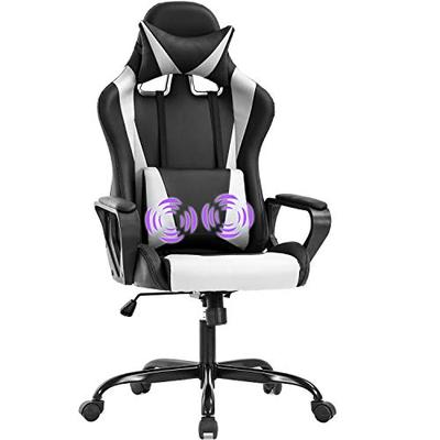 Gaming Chair Office Chair Racing Chair with Lumbar Support Arms Headrest High Back PU Leather Massage Ergonomic Desk Chair Rolling Swivel Adjustable PC Computer Chair for Women Adults Girls(White)