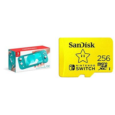 Nintendo Switch Lite - Turquoise with SanDisk 256GB MicroSDXC UHS-I Card for Nintendo Switch