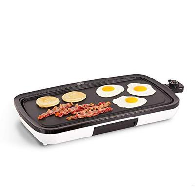 DASH DEG200GBWH01 Everyday Nonstick Electric Griddle for Pancakes, Burgers, Quesadillas, Eggs & other on the go Breakfast, Lunch & Snacks with Drip Tray + Included Recipe Book, 20in, White