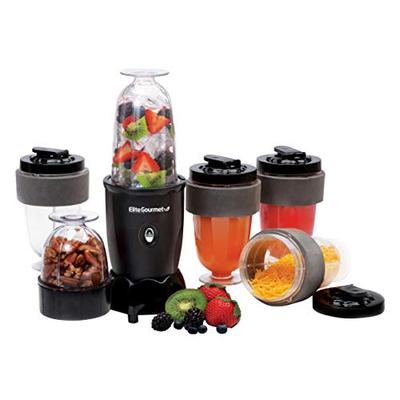 Elite Gourmet 17 Piece 300W Personal Drink Blender, 16 Oz, Black