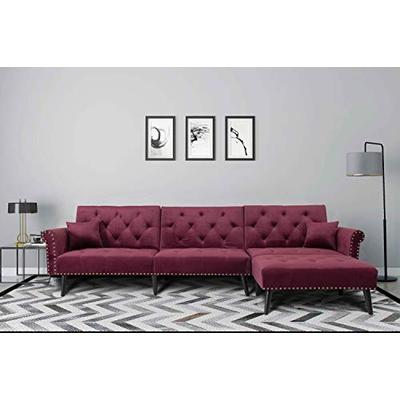 UNIROI Elegant Wine Red Button Velvet Tufted Convertible Bed, L Shape Sectional Sleeper Sofa Couch with Reversible Chaise and 2 Pillows for Living Room Furniture Set