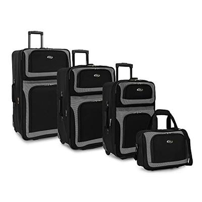 U.S. Traveler New Yorker Lightweight Softside Expandable Travel Rolling Luggage Set, Black, 4-Piece (15/21/25/29)