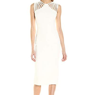 Dress the Population Women's Gwen Cutout Stretch Midi Dress, Ivory, L
