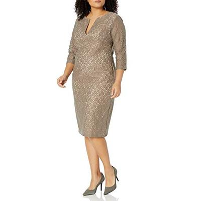 Single Dress Women's Plus Size Lace Meg Dress, Truffle Nude Long Sleeve, 1X