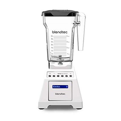 Blendtec Total Classic Original Blender Fourside Jar (75 oz) -Professional-Grade Power-6 Pre-Programmed Cycles-10-Speeds-White