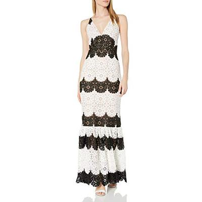Dress the Population Women's Plunging Lace Maxi Dress Fitted Sleeveless Gown, White/Black, M