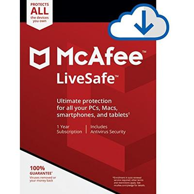 McAfee Live Safe 2021 Unlimited Devices Antivirus Internet and Identity Security Software, Safe Family, 1 Year - Download Code