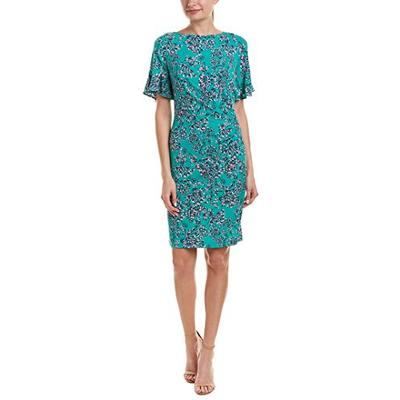 Taylor Dresses Women's Floral Print Short Sleeve Sheath Dress, Green Marine, Size XL