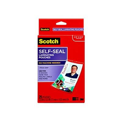 Scotch Self-Sealing Laminating Pouches, ID Protectors Includes Clips, 2.25 Inches x 3.5 Inches, 25 Pouches (LS852G) (Package may vary)