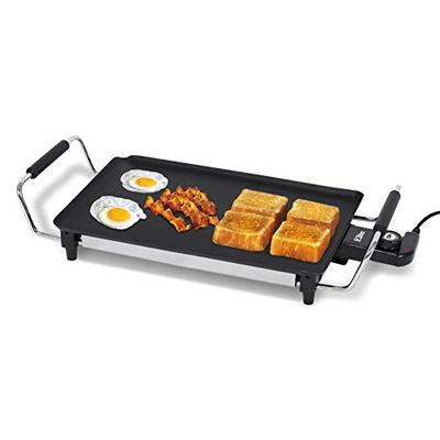 "Elite Gourmet EGR-4423 Electric 17"" x 9"" Griddle, Cool-touch Handles PFOA-Free Non-Stick Surface, Removable/Adjustable Thermostat, Skid Resistant Rubber Feet, Black"