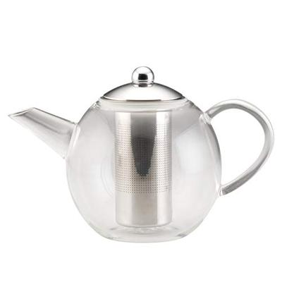 BonJour Tea Glass Teapot with Stainless Steel Infuser, 23.7 Ounce, Clear