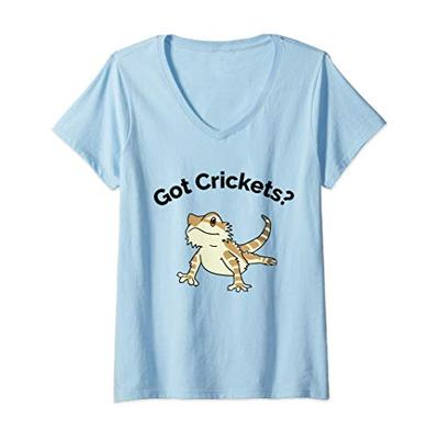 Womens Bearded Dragon Got Crickets Bearded Dragon Accessory T Shirt V-Neck T-Shirt