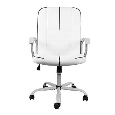 Rimiking Ergonomic Executive Office Chair Task Chair Swivel Office Chair Comfortable Bonded Leather Desk Chair Computer Chair Home Office Chair with Wheels and Arms, White