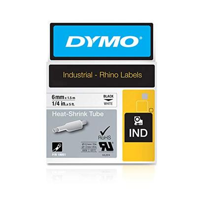 "DYMO Industrial Heat-Shrink Labels | Authentic DYMO Labels, For Tubing or Cables (1/4"" Tube, Black on White)"