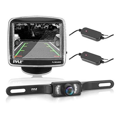 "Pyle Wireless Backup Car Camera Rearview Monitor System - Parking & Reverse Safety Distance Scale Lines, Waterproof & Night Vision Cam, 3.5"" LCD Screen Video Color Display for Vehicles - (PLCM34WIR)"