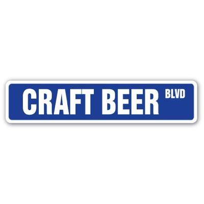 "Craft Beer Street Sign Brewery Beer Cold Barrel keg | Indoor/Outdoor | 30"" Wide"