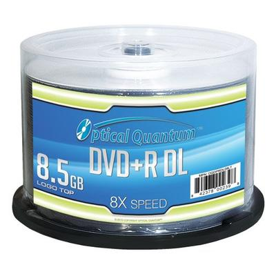 Optical Quantum OQDPRDL08LT 8X 8.5 GB DVD+R DL Double Layer Recordable Blank Media Logo Top, 50-Disc Spindle