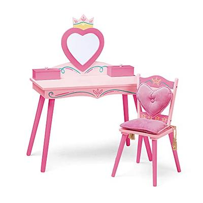 Wildkin Kids Princess Wooden Vanity and Chair Set for Boys and Girls, Vanity Features Mirror and Attached Jewelry Box and Music Box, Includes Matching Chair with Removable Backrest and Seat Cushion, Pink, Model:LOD20021