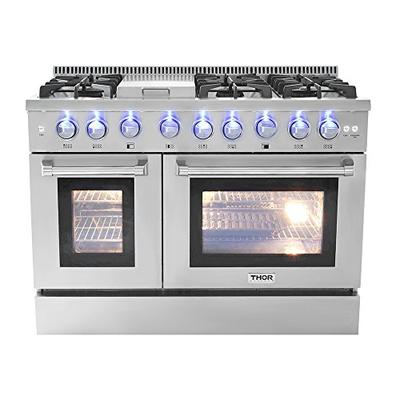 "Thor Kitchen HRG4808U 48"" Griddle Gas Range with 6 Burners and Double 4.2 cu.Ft and 2.5 cu, ft Oven Capacity Stainless Steel"