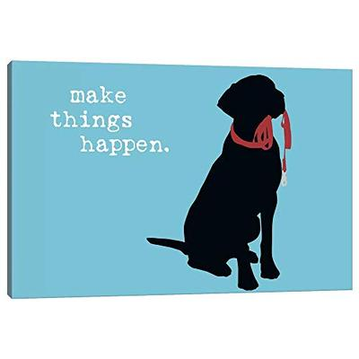 "iCanvas DIG45 Make Things Happen Canvas Print by Dog Cat is Good, 12"" x 18"" x 1.5"" Depth Gallery Wrapped"