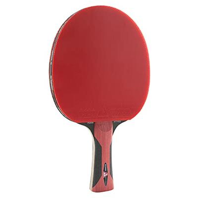 JOOLA Attack - Fully Assembled Ping Pong Paddle - Infused with Power Grip Sponge Technology to Reduce Vibration - ITTF Approved Competition Table Tennis Racket for Advanced Training and Tournament Play, Red/Black, One Size (59150)