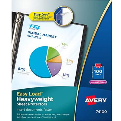 Avery 74100 Top-Load Poly Sheet Protectors, Heavy Gauge, Letter, Diamond Clear (Box of 100)
