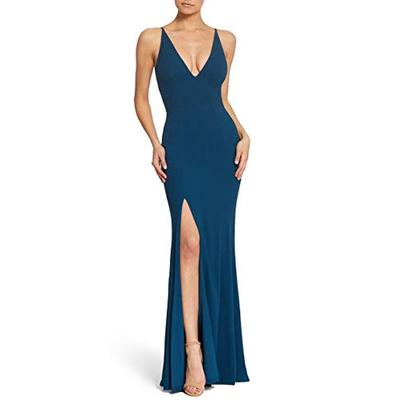 Dress the Population Women's Iris Spaghetti Strap Plunging Long Dress, Dark Blue, Large