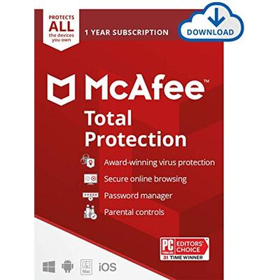 McAfee Total Protection 2021 Unlimited Devices, Antivirus Internet Security Software Password Manager, Parental Control, Privacy, 1 Year - Download Code