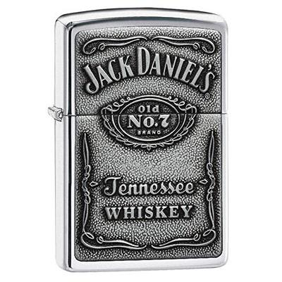 Zippo 250JD.427 Jack Daniel's Tennessee Whiskey Emblem Pocket Lighter, High Polish Chrome, 5 1/2 x 3 1/2 cm, High Polish Chrome Pewter