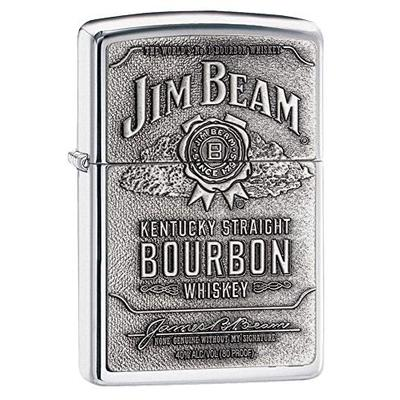 Zippo Jim Beam Bourbon Label High Polish Chrome Emblem Pocket Lighter