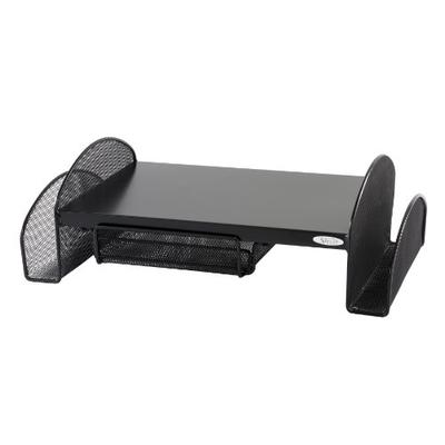 Safco Products Onyx Mesh Monitor Stand 2159BL, Black Powder Coat Finish, Durable Steel Mesh Construction