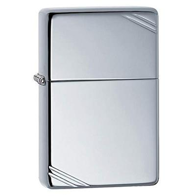 Zippo Vintage High Polish Chrome with Slashes Pocket Lighter, One Size (260)