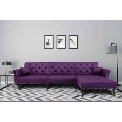NOUVCOO Convertible Bed Reversible Chaise, Velvet Button Tufted Sofa 2 Pillows, L Shape Sectional Couch Sleeper for Living Room Furniture Set, Purple