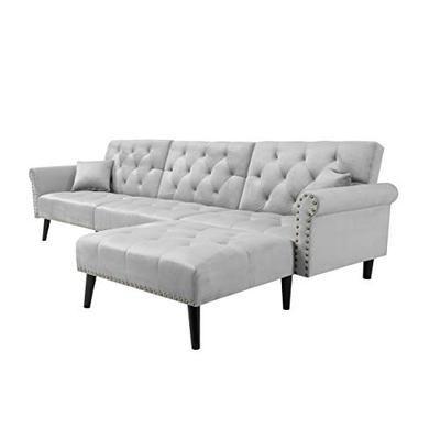 GAOPAN Convertible Bed Reversible Chaise, Velvet Button Tufted Sofa 2 Pillows, L Shape Sectional Couch Sleeper for Living Room Furniture Set,Light Gray