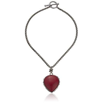 Lucky Brand Silver-Tone Red Fish Pendant Necklace, 16""