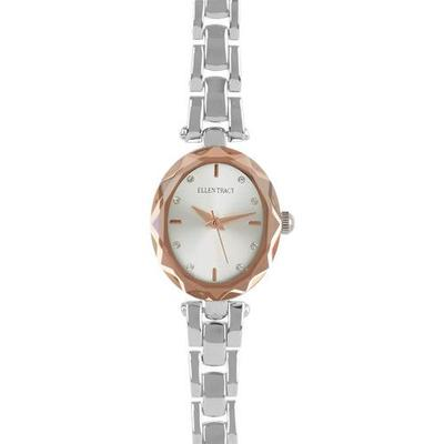 Ellen Tracy Womens Mini Faceted Oval Watch