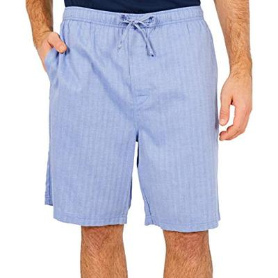 Nautica Men's Soft Woven 100% Cotton Elastic Waistband Sleep Pajama Short, Blue Bone, Large