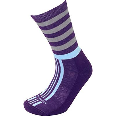 Lorpen Women's Lifestyle Stripes Socks, Plum, Large