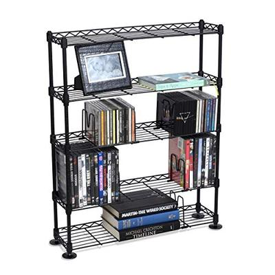 Atlantic Maxsteel 5 Tier Shelving - Heavy Gauge Steel Wire Media Shelving for 275 CDs,152 DVDs, Blu-ray or Games PN3010 in Black