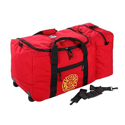 Ergodyne Arsenal 5005W Large Nylon Rolling Firefighter Rescue Turnout Fire Gear Bag with Shoulder Strap and Helmet Pocket, red