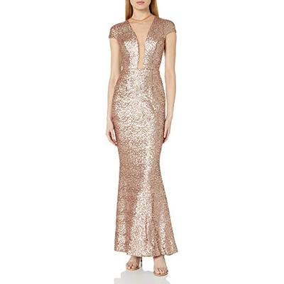 Dress the Population Women's Michelle Cap Sleeve Sequin Long Gown, Rose Gold, L