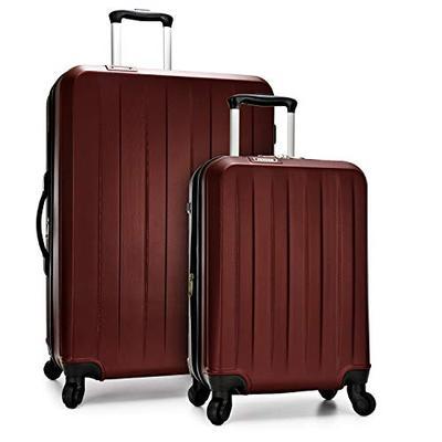 Elite Luggage Hardside Spinner Luggage with TSA Lock, Burgundy, 2-Piece (21 29)