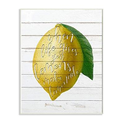 Stupell Industries Lemons to Lemonade Wood Textured Inspirational Word, Design by Ann Bailey Art, 10 x 15, Wall Plaque