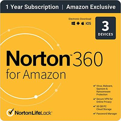 EXCLUSIVE Norton 360 for Amazon – Antivirus software for 3 Devices with Auto Renewal [Subscription]