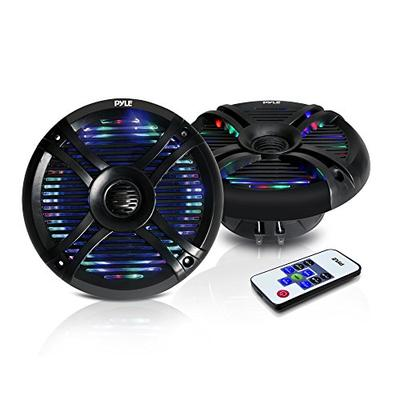 "6.5"" Dual Waterproof Marine Speakers - 250W Outdoor Car/Boat Radio Stereo Speakers Waterproof/Weather Proof Marine Stereo Speakers System Pair LED Mount Speaker Wire Grill - Pyle PLMRX68LEB (Black)"