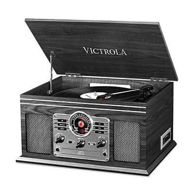 Victrola Nostalgic Classic Wood 6-in-1 Bluetooth Turntable Entertainment Center, Graphite (VTA-200B GH)