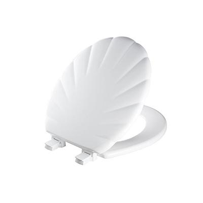 Mayfair Shell Sculptured Molded Wood Toilet Seat Featuring Easy Clean & Change Hinges and STA-TITE Seat Fastening System, Round, White, 22ECA 000