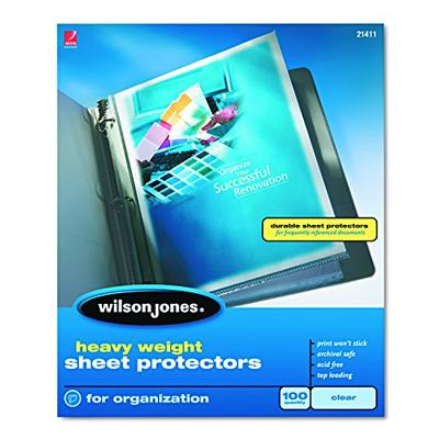 Wilson Jones Sheet Protectors, Heavy Weight, Top-Loading, Clear, 100 Sheets/Box (W21411)