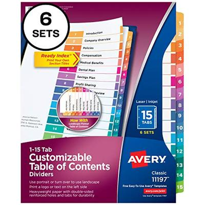 Avery 15-Tab Dividers for 3 Ring Binders, Customizable Table of Contents, Multicolor Tabs, 6 Sets (11197)